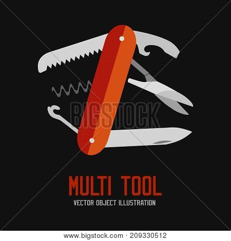 knife multi-tool, multipurpose penknife isolated vector on black background