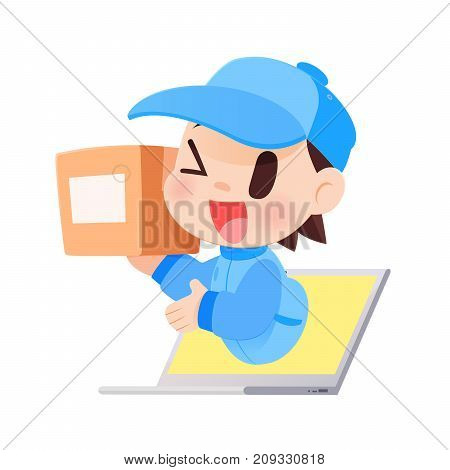 Delivery Man Brings A Goods To A Customer From Laptop Vector illustration Concept with Online Shopping And Services.