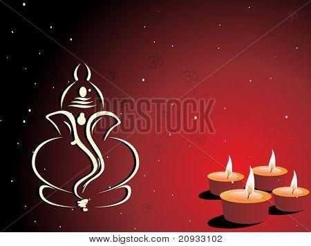 maroon background with set of diya, ganpati