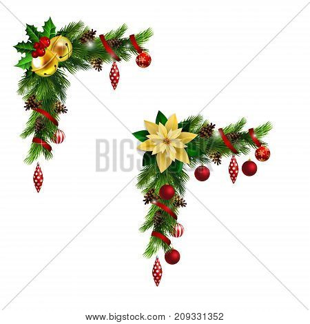 Christmas corner decoration set with evergreen treess golden swirls and poinsettia with two golden jingle bells isolated vector