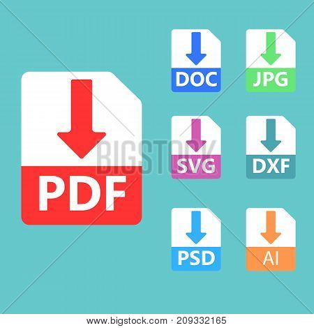 Collection of vector icons. Download signs. PDF SVG DOC JPG PSD file formats
