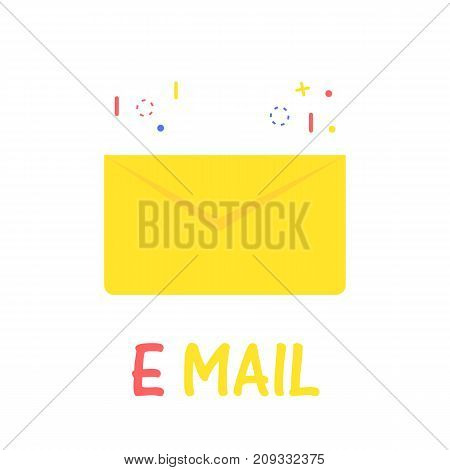 Cartoon icon email. Yellow letter in flat style. Vector illustration on white background.
