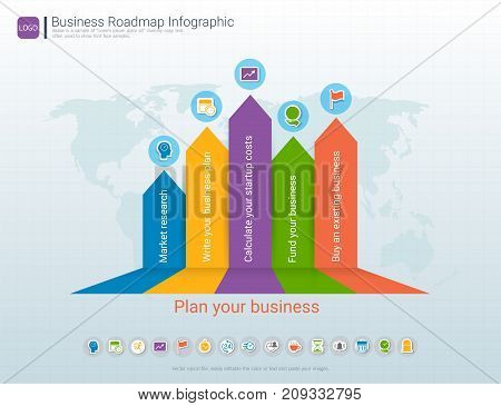 Roadmap timeline infographic design template, Key success and presentation of project ambitions, Can be used roadmap management for any business plan to achieving your project goals is clear to you.