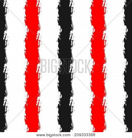Vertical stripes painted with rough brush. Seamless pattern. Grunge sketch watercolour graffiti. Vector illustration. Red black white colour.