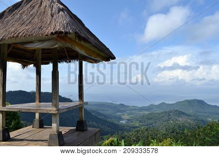 A Hut And Its Magnificent View In Karangasem (taken From Bukit Putung), Bali, Indonesia