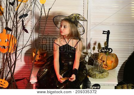 Little witch with Halloween decor. Halloween party and celebration concept. Girl with interested face on spooky carnival room background. Kid in witch hat and costume looks aside