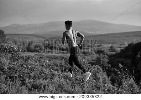 Sexy Muscular Man Running Outdoor