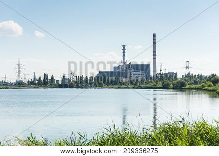 nuclear power plant on the lake shore