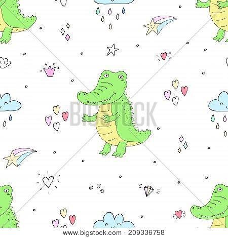 Seamless pattern with cute crocodile. vector print
