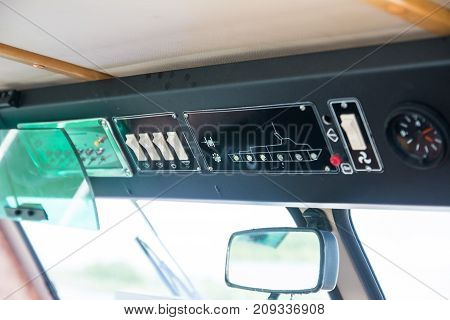 control panel inside the ship on the lake