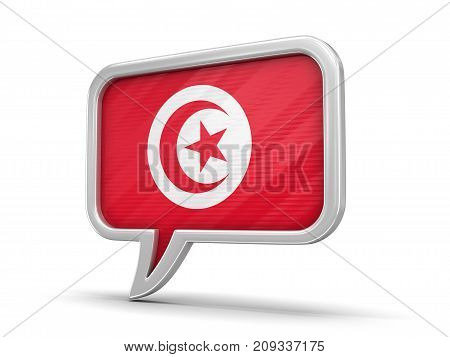 3d Illustration. Speech bubble with Tunisian flag. Image with clipping path