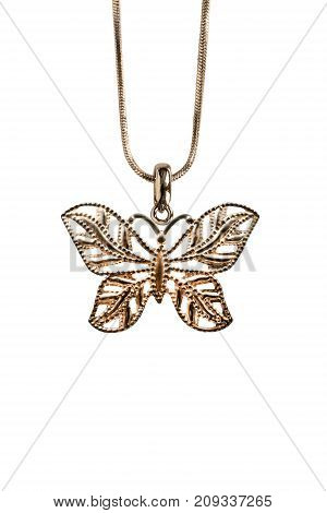 Golden butterfly pendant hanging on a chain isolated over white