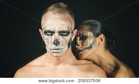 Halloween Couple In Love With Naked Body.