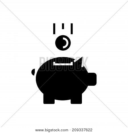piggy bank with coin icon, illustration, vector sign on isolated background