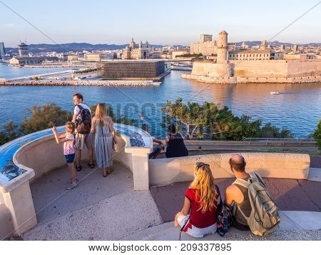 MARSEILLE FRANCE - AUGUST 07 2017: Saint Jean Castle and Cathedral de la Major and the Vieux port in Marseille France as seen from Palais du Pharo