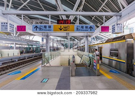 TAICHUNG TAIWAN - JULY 19: This is the interior architecture of Taichung main station on July 19 2017 in Taichung