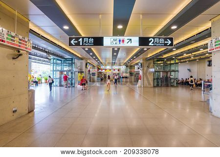 TAICHUNG TAIWAN - JULY 19: This is the interior architecture of Taichung main station which is located in the downtown area on July 19 2017 in Taichung