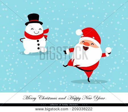 Santa Claus playing in the snow. Snowman ironic watching him. Funny emotional characters for the Christmas and New Year design. A humorous collection of Xmas. Vector illustration