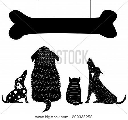 Funny hungry dogs look at a huge bone. Silhouettes of different breeds of dogs in vector