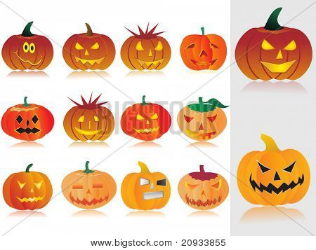 background with collection of pumpkin