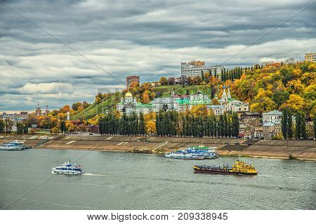 NIZHNY NOVGOROD, RUSSIA - October 14, 2017: Annunciation orthodox monastery on the high bank in Nizhny Novgorod during golden autumn, Russia
