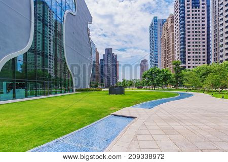 TAICHUNG TAIWAN - JULY 18: This is the National Taichung Theater building a popular landmark in the financial district on July 18 2017 in Taichung