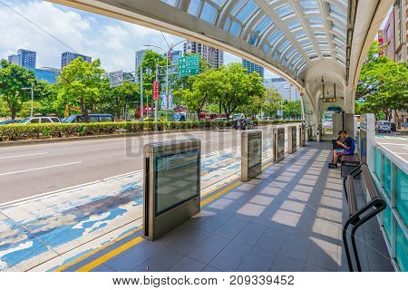 TAICHUNG TAIWAN - JULY 18: This is a bus stop in the downtown area bus stops like this can be found around the city as buses are the most common mode of trasnport in Taichung on July 18 2017 in Taichung