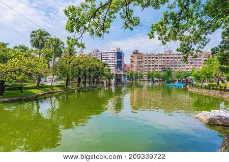 Scenic lake view in Taichung park Taiwan