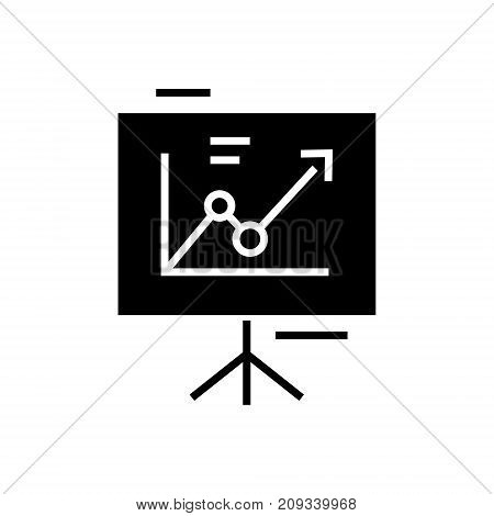 presentation board - flip chart icon, illustration, vector sign on isolated background