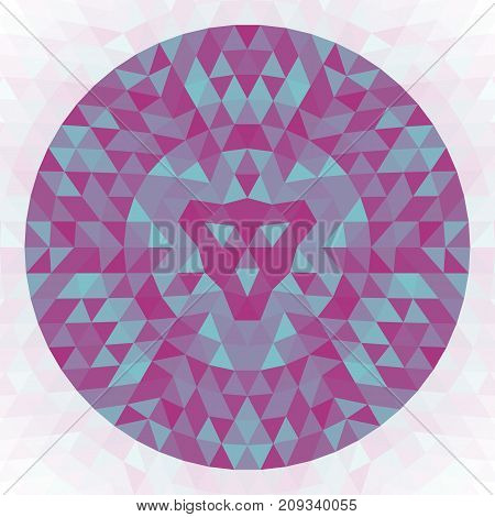 Round abstract geometric triangle kaleidoscopic mandala design - symmetric vector pattern art from triangles