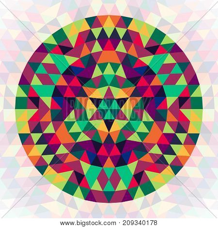 Round geometric triangle kaleidoscopic mandala design symbol - symmetrical vector pattern graphic from colored triangles