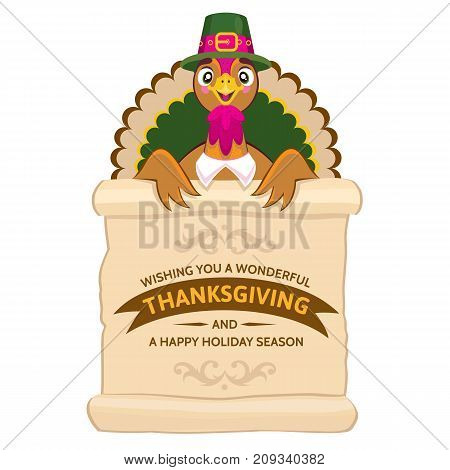 Vector cartoon portrait of funny smiling turkey. Thanksgiving Day greeting card with cute happy cartoon of turkey bird. Can be use as flyer, poster or banner
