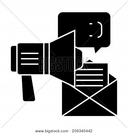 promotion - advertising - loudspeaker, email, chat icon, illustration, vector sign on isolated background