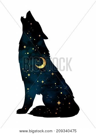 Silhouette Of Wolf With Crescent Moon And Stars Isolated. Sticker, Print Or Tattoo Design Vector Ill
