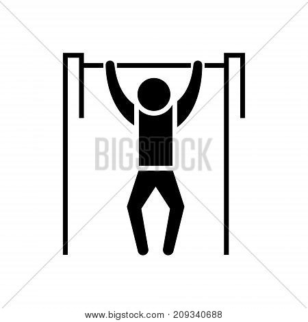 Pull-up - workout - street Exercise icon, illustration, vector sign on isolated background