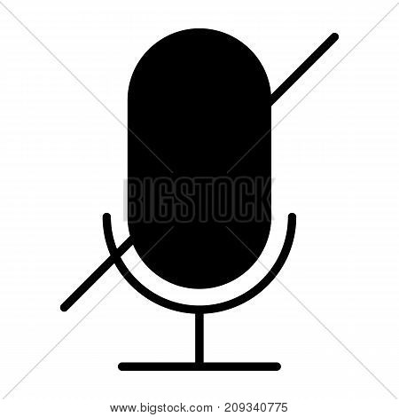 Old microphone disabled silhouette  icon. 96x96 for Web Graphics and Apps.  Simple Minimal Pictogram. Vector