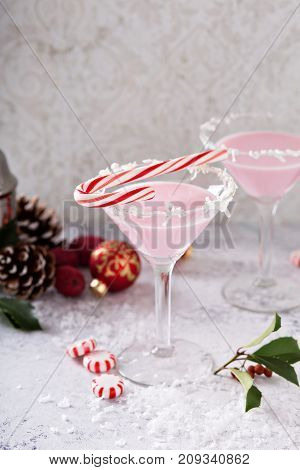 Pink peppermint martinis for Christmas or New Year