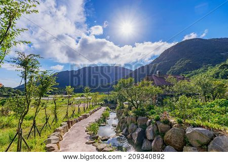 Countryside scenic view on a sunny day