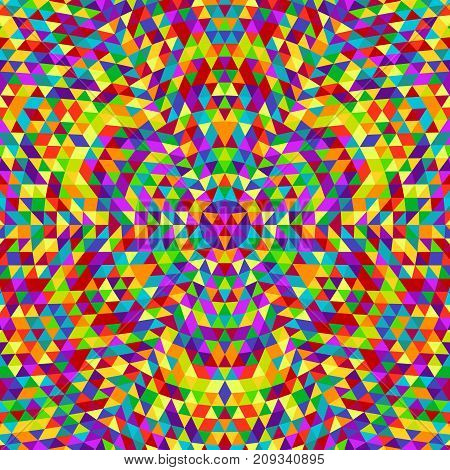 Round abstract geometrical triangle kaleidoscope mandala background - vector pattern graphic from color triangles