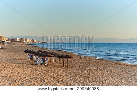 Early morning on the beach of La Mata. Torrevieja city. Costa Blanca Province of Alicante. Spain