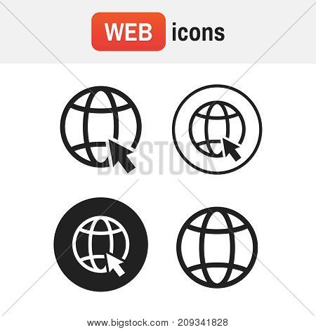 Icon Www. Go To Web Icons Set Vector Illustration. Go To Web Black Logo