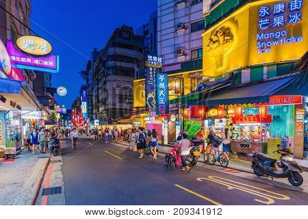 TAIPEI TAIWAN - JULY 16: This is Yongkang street a famous street where travellers and locals come to try Taiwanese street food on July 16 2017 in Taipei