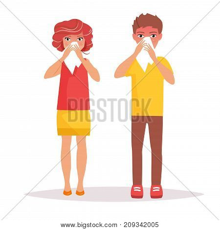 Boy and a girl with a runny nose. Vector. Cartoon. Isolated art on white background. Flat
