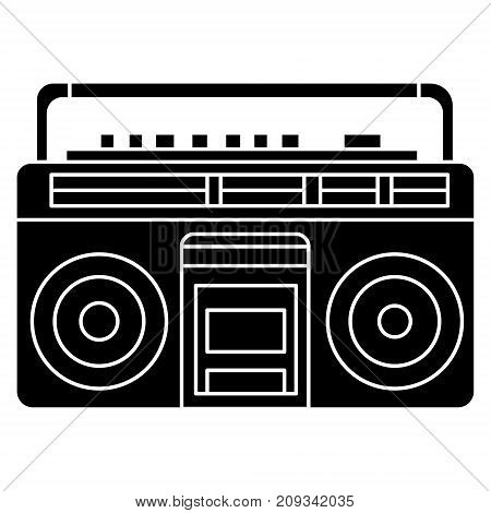 retro tape recorder icon, illustration, vector sign on isolated background