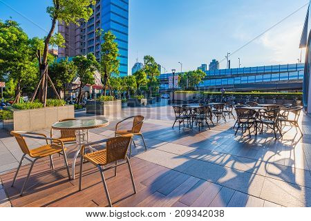 TAIPEI TAIWAN - JULY 15: This is a cafe area outside Syntrend shopping mall which is a newly built mall dedicated to selling consumer electronics on July 15 2017 in Taipei