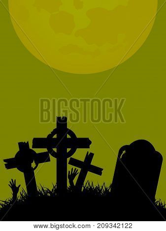 Halloween Green Background with Rotten Tombstone and Crosses in a Field with Zombie Hands and Moon
