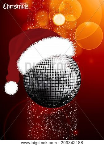 Merry Christmas Glowing Red Festive Background with Silver Disco Ball with Santa Hat snow and Decorative Text