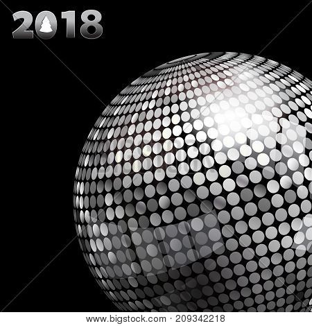 3D Illustration of Silver Disco Ball and 2018 Twenty Eighteenth in Silver Numbers with Tree Over Black Background