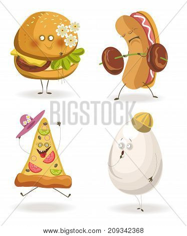Cartooon fast food characters with cheerful human face expressions. Vector flat icons set