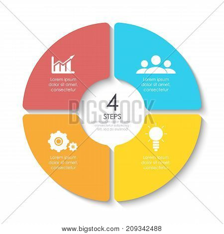 Set of round infographic diagram. Circles of 4 elements or steps. Vector EPS10